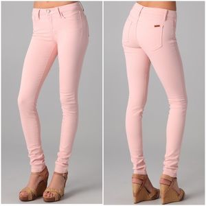 Joe's Stretchy Mid Rise Light Pink Skinny Jeans